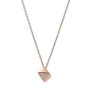 Fossil Glitz Nugget pendant necklace in rose gold